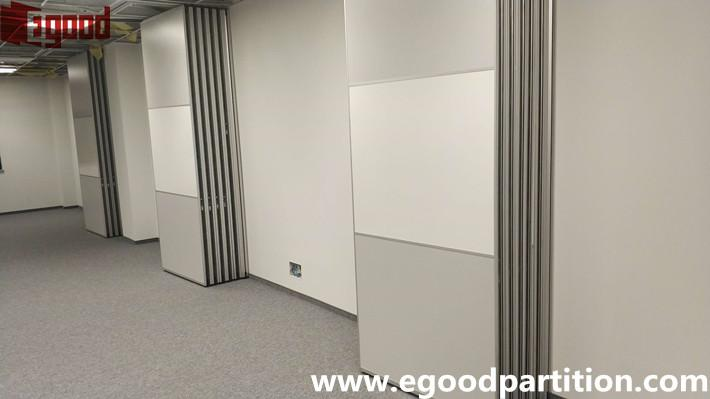 Folding door partition stacking parking options