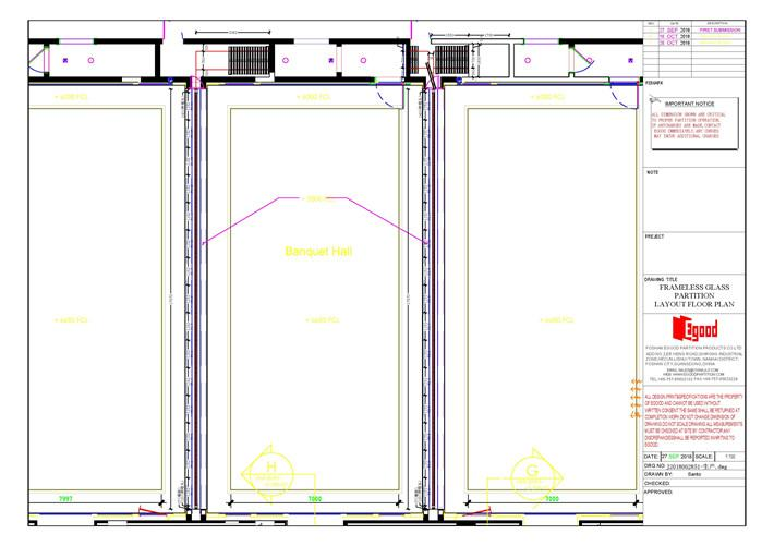 sliding folding partition drawing